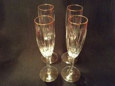 Noritake Crystal Granbury gold champagne flutes glasses, set of four