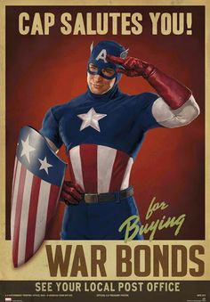 Make your home look retro and awesome with this Captain America First Avenger Cap Salutes You Replica Poster. Propaganda has never looked so good.