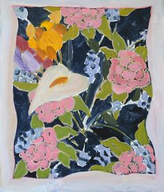 Anna Valdez  Floral Hanky - oil on masonite. 13 x 11 inches. 2015