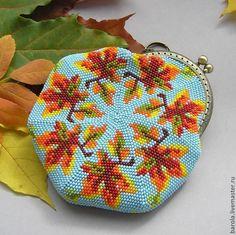 """Купить Кошелёк """"Осень"""" - сумочка, монетница, кошелек с фермуаром, вязаная сумка, бисерная сумочка"""