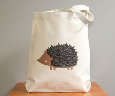 Canvas tote bag hedgehog Sturdy 100 10oz by squarepaisleydesign, $16.00