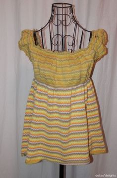 FREE PEOPLE TOP S Small Peasant Sleeveless Green Sweater Hippie Boho Yellow #FreePeople #KnitTop #Casual