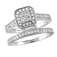 0.75ct Round & Princess Cut Diamond 14K Gold Engagement Wedding Bridal Set Rings #affinityhomeshopping #BridalRing