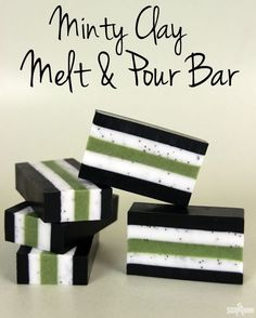 Minty Clay Melt and Pour Bar Tutorial from Soap Queen. Great bold colors using natural ingredients :)