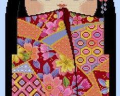 Cute Kokeshi Doll LRG-01 ERI- Cross Stitch PDF Pattern