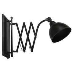 black, industrial accordion wall arm lamp
