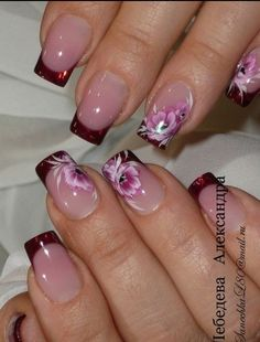 French Manicure Designs Flower Tips 55 Ideas Nails Yellow, Red Nails, French Tip Nail Designs, Nail Art Designs, Nails Design, Pretty Nail Art, Beautiful Nail Art, French Nails, Nagellack Trends