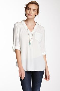Lace Shoulder Pocket Blouse by Pleione on @HauteLook. Look urbano