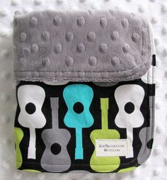 Michael Miller Groovy Guitars Fabric and Charcoal by sewbrookstone, $14.00