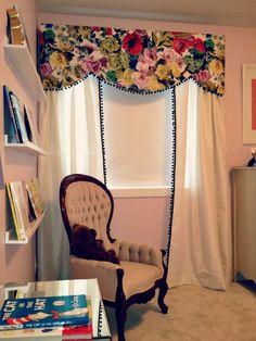 DIY Pelmet Box & Curtain Panels with pom pom trim | Prairie Perch