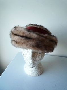 Vintage Faux Fur Tiered Hat with Dark Red Fabric Ribbon Detail A Vera Whistler O | Clothing, Shoes & Accessories, Vintage, Vintage Accessories | eBay!