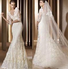 Noble white/ivory lace V-neck Wedding Dress Bridal Gown Size 6 8 10 12 14 16+++