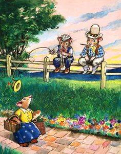 Town Mouse and Country Mouse (gouache on paper) Fine Art Print by Philip Mendoza