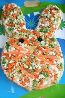Easter Bunny Veggie Pizza