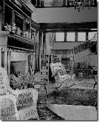 CARLETON ISLAND VILLA, Thousand Islands, NY. The main hall was the central gathering place, providing a piano for entertainment.