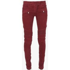 Balmain Suede-effect low-rise stretch cotton biker jeans ($1,030) ❤ liked on Polyvore featuring jeans, 5 pocket jeans, red jeans, super skinny jeans, skinny leg jeans y skinny jeans