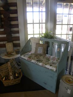 Upcycled wood box ~ great little  bench