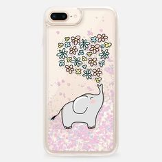 Casetify iPhone 8 Plus Liquid Glitter Case - Elephant - Flowers Heart - Floral Love by Happy Cat Prints