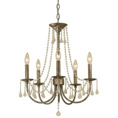 Classical 5 Light Chandelier in Gold