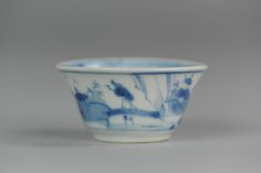 18C Antique Chinese porcelain cup landscape Figures  Lovely Chinese porcelain 18th c tea cup with blue & white decoration