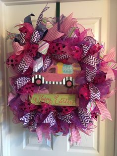 Easter truck deco mesh wreath with Terri bow