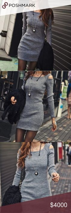 JUST IN Gray Sweater Dress Stylish grey bodycon sweater dress with cold shoulders and long sleeves. Ribbed stretch jersey fabric. Perfect for the fall.  Small:    Length: 32 in    Bust: 29-36 in    Waist: 25-32 in    Sleeve: 20 in  Medium:    Length: 33 in    Bust: 31-38.5 in    Waist: 25-33 in    Sleeve: 20.5 in  Large:     Length: 33 in    Bust: 32-40 in    Waist: 26-34 in    Sleeve: 21 in Diamonds & Jules Dresses Mini