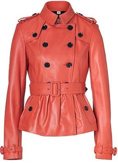 BURBERRY LONDON  Orange Red Leather Rushcourt Jacket - leather jackets are great for moms in their 30s and 40s