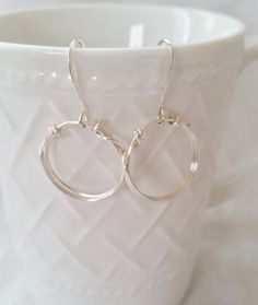 Silver Hoop Wire Wrapped Earrings  Wire Wrapped by Studio4150