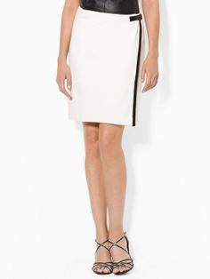 LAUREN RALPH LAUREN | Leather-Trimmed Wrap Skirt, Pearl/Black.