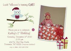 christmas owl first birthday party invitation idea