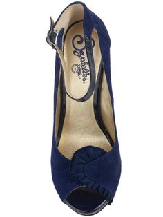 daisy wheel $95 material: suede/patent/satin Heel Height: 4 in.