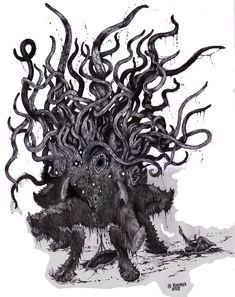 "wilburwhateley: "" Dark Young of Shub-Niggurath by Khannea Suntzu (via Lovecraftian Science) "" Hp Lovecraft, Lovecraft Cthulhu, Call Of Cthulhu, Arte Horror, Horror Art, Eldritch Horror, Lovecraftian Horror, Arte Obscura, Desenho Tattoo"