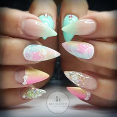 Spring Fling  for this cutie @ladysparrow_8 xx With some #henna inspiration from @creations_by_josiah  #getbuffednails #rainbowhenna #nails #nailart #notd #instanails #ignails #nailprodigy #acrylic from @nailperfectaustralia  #glitter from @glitter_heaven_australia  #gellyfit #gelpolish from @gellyfitaustralia  #bling  #swarovski #nailtech #melbournenailart #acrylicnails #handpainted #pointynails