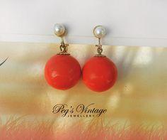 Retro Orange Ball Earrings/Bead Dangle Clip by PegsVintageShop