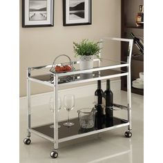 Chrome Metal with Black Tempered Glass Bar/ Tea Serving Cart   Overstock™ Shopping - Great Deals on Kitchen Carts