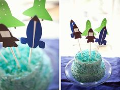 Super cute rocket spaceship cake toppers for a birthday party! Would go great with the Rocket Ship invitation from Sugar Tree Paperie.