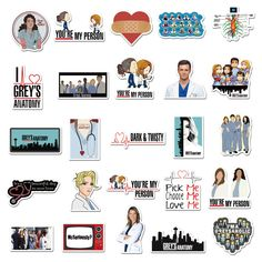 Grey's Anatomy, Greys Anatomy Logo, Greys Anatomy Gifts, Greys Anatomy Memes, Grey Anatomy Quotes, Anatomy Drawing, Printable Stickers, Cute Stickers, Dark And Twisty