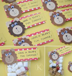Beary Fun Summer treat bag toppers