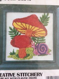 Vintage Vogart Crewel Embroidery Kit Mushrooms Snail Nature # 2011 F Sealed #Vogart