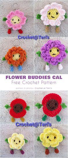 flower buddies cal Crochet Keychain, Crochet Necklace, Free Crochet, Knit Crochet, Flower Patterns, Crochet Patterns, Butterfly Flowers, Butterflies, Rose Applique