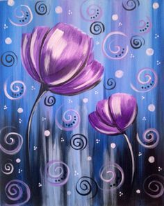 Tulip Painting, Easy Canvas Painting, Painting & Drawing, Canvas Art, Painting Flowers, Canvas Ideas, Body Painting, Purple Painting, Painting Abstract