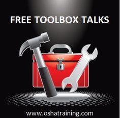 Free tool box talks Safety Toolbox Talks, Tool Box Talks, Portable Ladder, Hazard Communication, Safety Talk, Lockout Tagout, Construction Safety, Electrical Safety
