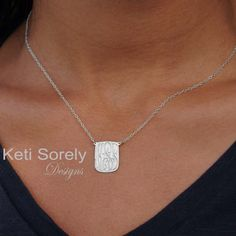 Celebrity Style Hand Engraved Small Rectangle Charm Necklace with Monogrammed Initials - Silver or White Gold