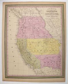 Rare 1852 Mitchell California Map Oregon Washington Map New Mexico Arizona Map Nevada Utah Map Idaho Cowperthwait Map Historical Us Map