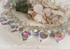 Antique Broken China Jewelry Swarovski Crystal Charm Bracelet