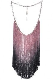 ROMWE Diamante Tassels Gradient Pink Necklace
