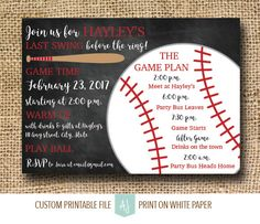 """Know a bride who loves baseball? Throw her a """"Last Swing Before the Ring"""". If you're planning a Bachelorette party, these invites are completely customizable to your colors and needs. Printable file you can print as many times as you need. Click through for matching decorations, and more. Or shop our 1000+ designs for all of life's journeys."""