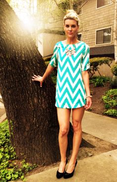 #ad Super chic spring look! Loving the unique chevron print and statement necklace!!!!