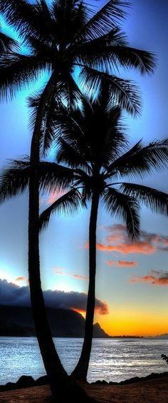 me quedaría aqui hasta que tocara el ukelele y me gustaran los cocos… Hanalei Bay, Hawaii at Sunset