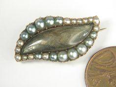 ANTIQUE ENGLISH GEORGIAN 15K GOLD HAIR PEARL EYE SHAPED MOURNING PIN c1810 | eBay. $195.00